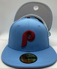 Custom Philies New Era '80 World Series Patch 59Fifty Sky Blue Polyester Grey UV
