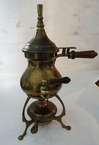 Antique Arts & Crafts Hammered Brass Louis Wiener by F & R Fischer spirit kettle