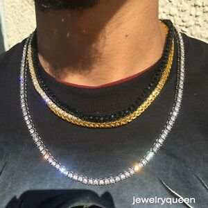 3mm Gold Silver Black Tennis Chain Single Row Men Women Necklace PT Iced CZ
