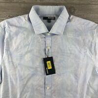 Men's Murano Short Sleeve Button Down Shirt Size Large Slim Fit Blue Flowers