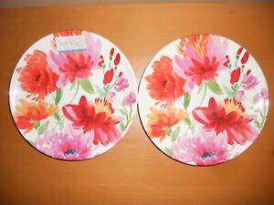 New Set 2 Nicole Miller Round Floral Melamine Salad Luncheon Plates