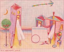 """Dimitris C. Milionis """"AEGEAN HOUSES"""" Colored Drawing Paper Greek 2004"""