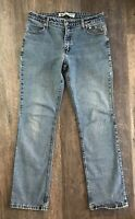 Harley Davidson Jeans Womens Size 12 Boot Cut Blue Distressed Denim C