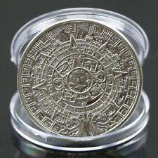 Silver Plated Mayan Aztec Calendar Souvenir Commemorative Coin Collection Gift