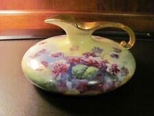 LIMOGES Hand Painted Unique Flat Pitcher, Artist Signed by Duval, 100 years old