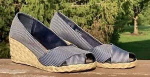 Ralph Lauren Cecilia Navy Striped Espadrilles Jute Wedge 6.5