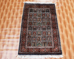 Box Design Oriental Rugs 2x3 Foot Hand-Knotted Entryway Carpet Grey Color Mat
