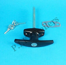 FREE P&P* Black T Handle Door Lock & 2 Keys for Horse Box & Caravans & Trailers