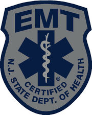 SUBDUED NEW JERSEY STATE CERTIFIED EMT REFLECTIVE DECAL