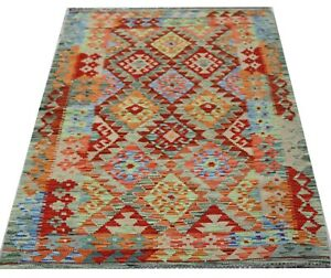 Real Afghan Tribal Multi colour Handmade Reversible Wool Kilim Area Rug101x149cm