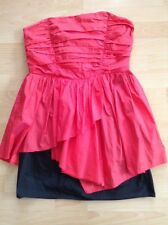 Bnwt🌹Red Herring🌹Size 14 Black & Watermelon Bandeau Dress Prom Cocktail New