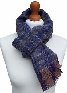 MENS Shetland Wool Woven UK Made Checked Purple Blue Premium Scarf 164cm x 23cm