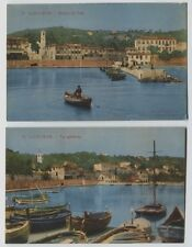 2 1910 era Saint-Jean France Hand Colored postcards Boats Harbour