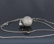 18K White Gold Round Pave Diamond Ball Pendant Enchancer 18'' Necklace Chain