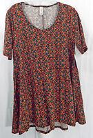 Womens LuLaRoe Perfect T Shirt S Black Red Orange Green Floral NWT