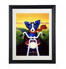 "George Rodrigue Blue Dog Art Prints  ""A Faster Breed"" ~Framed"