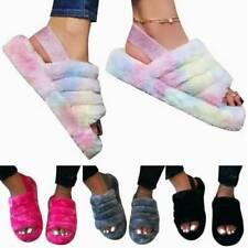 UK Fur Fluffy Sliders Slippers Slip On Flat Sandals Mules Summer Shoes slippers'