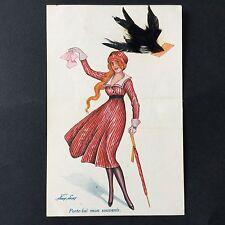 CPA Xavier Sager Mode Hirondelle en Plume Illustrateur Politique Postcard PC