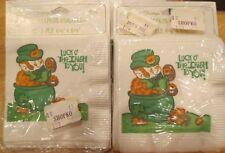 15 Vintage 1977 Petite Paper Coaster Size Napkins Luck O' Irish Pot of Gold Mip