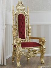 Trône Lion style Baroque Français fauteuil royal feuille or velours bordeaux pie