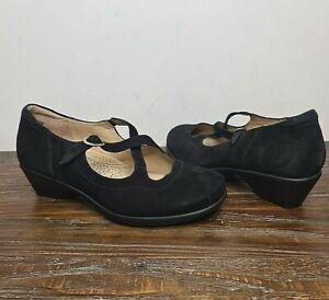 KUMFS womens size 40 W black suede low heel comfort shoes closed toe cross over