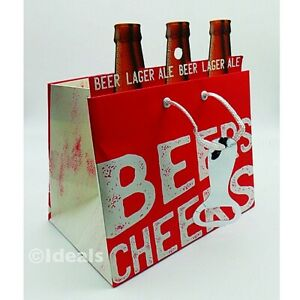 CHEERS! Fun, Sturdy Gift Bag for 6x Beer Bottles - Six Pack Holder & Novelty Tag
