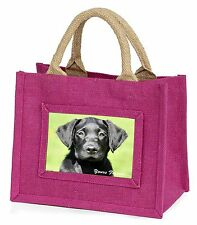 Black Lab Puppy 'Yours Forever' Little Girls Small Pink Shopping Bag , AD-L2yBMP