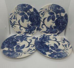Royal Stafford ~ Plates ~ Blue Floral Weaves ~ 8.5 In ~ Set Of 4 ~ Elegant
