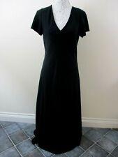 M&S Black evening dress size 14 maxi fit & flare short sleeve panels elegant