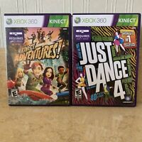 MICROSOFT XBOX 360 2 GAMES JUST DANCE  4 And Kinect ADVENTURES
