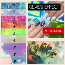 !HOT! BROKEN GLASS 9 Colors NAILS EFFECT Stickers FOIL  MIRROR Efekt Szkla UK