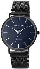 Excellanc Herrenuhr Blau Schwarz Meshband Analog Metall Armbanduhr X2300012002