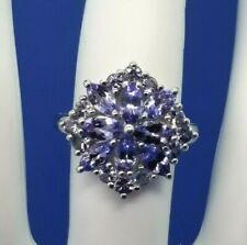 2.29ctw Tanzanite Cluster Sterling Silver Ring Sz 8  JTV $150
