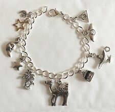 MIDNIGHT AT THE OASIS TURKISH ARAB SILVER TONE CHARM BRACELET CHOICE 19-21CM