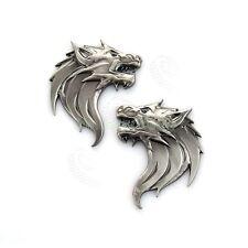 Personalized Wolf Logo 3D Metal Emblem Car Auto Window Door Badge Decals Sliver