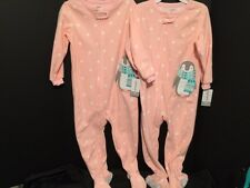 NEW Girl TWINS 3T Lot of Two Identical Footed Blanket Sleepers PInk Polka Dot