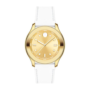Movado Bold 3600410 Swiss Quartz Watch Gold Dial White Silicone Band  38MM