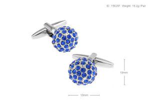 Exquisite Elegant Blue Crystal Shirt Cufflinks Groom Men's Cuff Links Gift