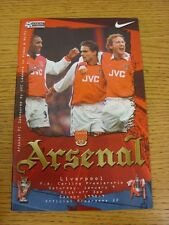 09/01/1999 Arsenal v Liverpool  (Excellent Condition)
