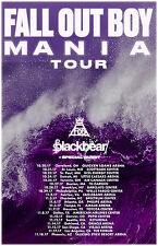 "FALL OUT BOY /BLACKBEAR ""MANIA TOUR"" 2017 NORTH AMERICAN CONCERT POSTER-Emo Punk"