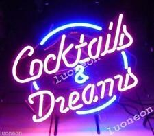 New COCKTAILS AND DREAMS HANDCRAFT REAL GLASS NEON LIGHT BEER BAR PUB SIGN