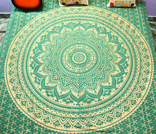 Indian Green Mandala Ombre Tapestry Throw Wall Hanging Hippie Bedspread Coverlet