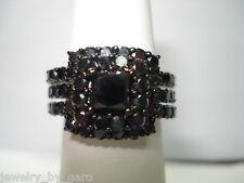 PLATINUM PRINCESS CUT ENHANCED BLACK DIAMOND ENGAGEMENT RING & WEDDING BAND SETS