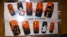 Handmade Halloween themed false nails