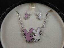 Playboy Bunny Necklace & Earring Set (RHD & Swarovski) Exclusive Jewellery Box