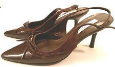 Maripe' Ramp Brown Leather Suede Sling Back Pumps Heels Dress Shoes Womens 6.5 M