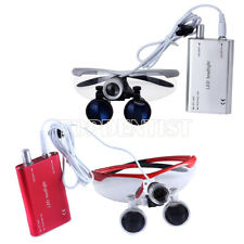New Listingdental Medical Magnifier Binocular Loupes Glass With Led Head Light Lamp 2colors