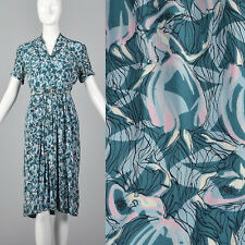 XS 1940s Cold Rayon Dress Novelty Dancing Ladies Print Day Wear Spring Teal 40s