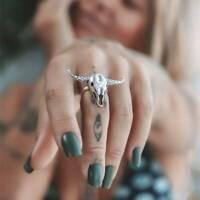 Vintage Silber Farbe Punk Verstellbarer Ring Retro Steampunk Hohl Ringe zONwl