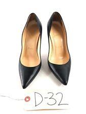 D32 Christian Louboutin Apostrophy Black Leather Pointed Toe Pumps Women's Sz 36